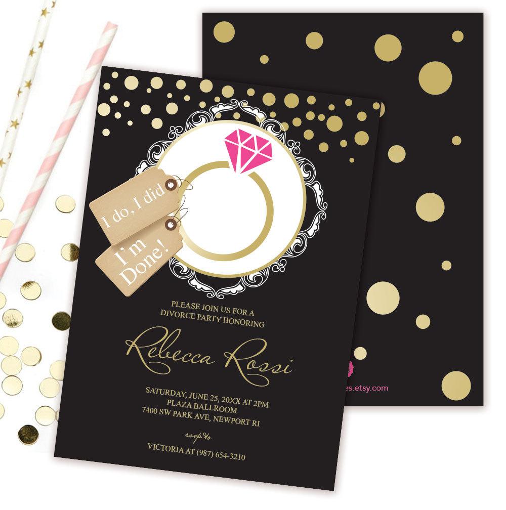 Divorce Party Invitation Black Hot Pink Gold Humorous