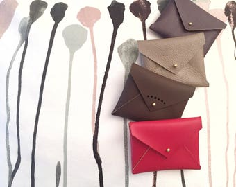 mini faux leather envelope credit card and business card holder/headphone holder/coin purse