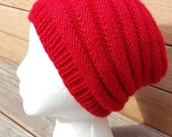Red hat, Red Slouchy Beanie, Red Beanie, Red Slouchy Hat, FREE SHIPPING, Knit Red Slouch, Winter red hat, Red beret, Red Ribbed Beanie