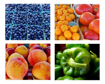 FARMERS MARKET Note Cards--Note Card Set, Stationery, Blank Cards, Thank You Notes, Greeting Cards, Hostess Gift, Fruit, Vegetables, Food