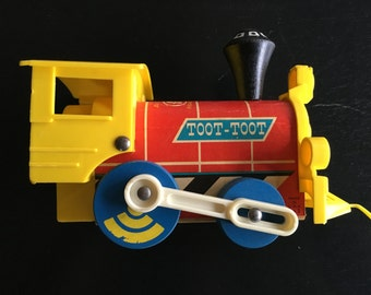 Fisher-Price Toot-Toot 1964 wood pull toy