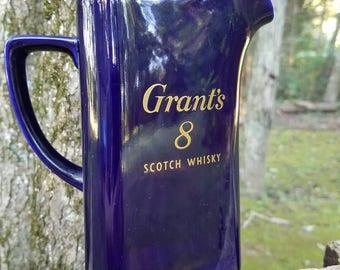 Grants 8 Scotch Water Pitcher, Home Decor,Bar Decor, Bar Accessories, Man Cave Decor, Scotch Collectables, Scotch Water Pitcher, Grants 8