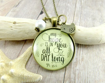 My Hope is In You All Day Long Scripture Psalm 25 Hope Necklace Jesus Jewelry Faith Scripture Christian Keychain Inspirational Pendant Gift