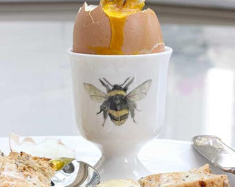 Bee Egg Cup -  Easter Gift, fine bone china, country kitchen, woodland, Bee Gift