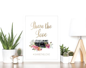 Share The Love Wedding Hashtag Sign Social Media - Real Rose Gold Foil Boho Watercolor Print