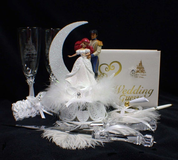 little mermaid and prince eric wedding cake topper disney mermaid wedding cake topper lot glasses knife 16909
