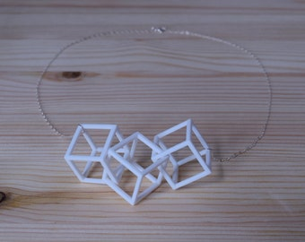 Cubed Necklace in White - Geometric Statement Jewelry - 3D Printed