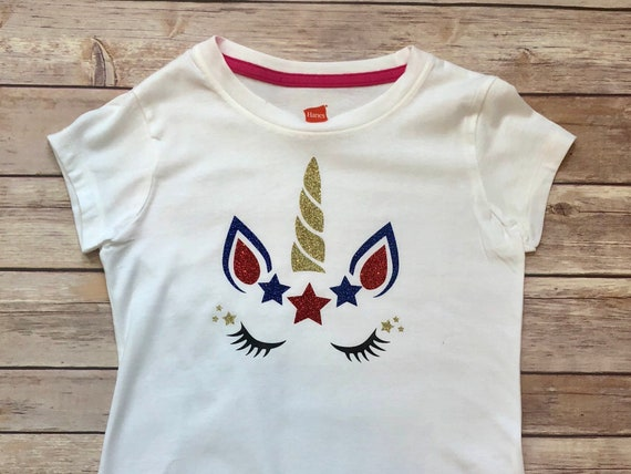 4th of July Unicorn Girls Tee