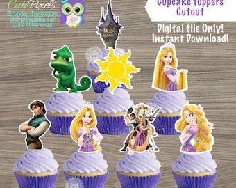 Tangled cupcake toppers, Princess Rapunzel Cupcake Toppers, Tangled Birthday, Rapunzel Topper, Disney Princess Birthday decor, Cutouts