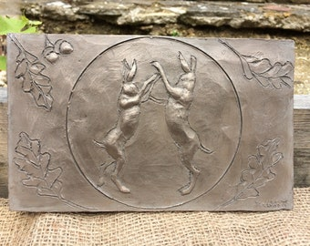 Boxing hares garden sculpture, cold cast bronze garden plaque, wall sculpture, garden ornament, garden art, yard art, hare sculpture, hare