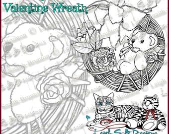 Teddy Bear Valentine Wreath - whimsical original art digi stamp by Leigh Snaith-Brunton of LeighSBDesigns