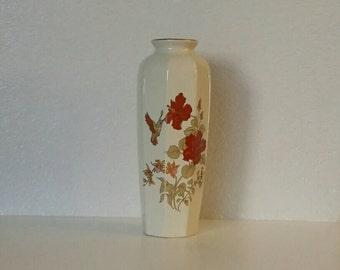 Vintage Japanese Hummingbird and Floral Vase