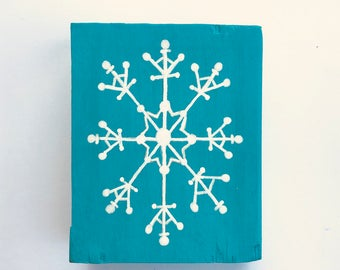 Handmade Snowflake mini wood sign