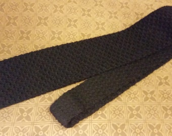 Necktie Lew Magram Black Wool Knit Tie