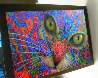 greeting card print of original art- cat of color Zentangle spirit animal