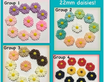 Daisy flower flatback 22mm 10pc resin floral craft supply paper craft scrapbooking embellishments cabochon daisies cardmaking F36