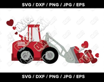Valentine svg, truck, tractor, hearts, love svg dxf eps jpeg format layered cutting files die cut decal vinyl cricut silhouette