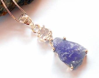 Tanzanite and Herkimer Diamond Necklace earthegy #2503