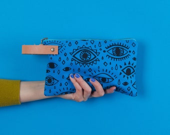 Pouch #1  | Canvas Leather Zippered Pouch, Wallet, Carryall, Colorful, Hand Printed, Pattern, Unique, Black, Turquoise, Eyes