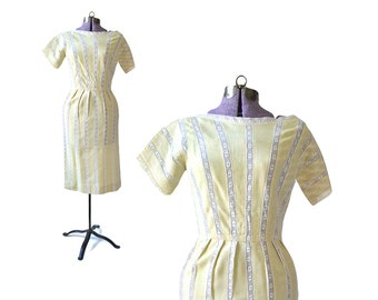 1950s Dress, linen dress, Eyelet Lace Dress, yellow Vintage Dress, 50s Dress, Yellow Dress, Pencil Dress, Vintage Clothing, Womens Dress