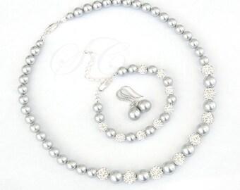 Grey Pearl Wedding Jewelry Bridal Jewelry Necklace Swarovski Cubic Zirconia Shamballa Beads Light Grey Rhinestone Crystal KPL001