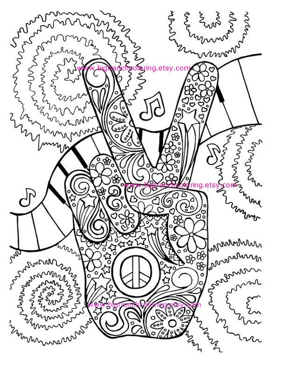 Adult Coloring Page Hippie Retro Peace Colouring