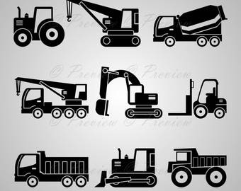 Buy 2 Get 1 Free! Digital Clipart Construction Machinery Silhouettes, crane excavator tractor black images png/eps/svg/dxf/pdf/studio files