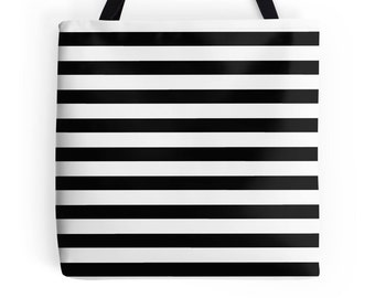 Black White Stripe Bag, Black and White Bag, Black White Striped Bag, White Black Accessories, Black and White Tote, Black Tote, Black Bag