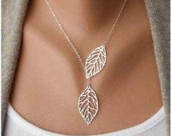 Silver or Gold Leaf Variable Length Necklace Fully extended approximately 20 Inches..