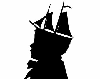 The Young Captain Nautical Silhouette Print Beach House Decor Black and White Nursery Decor