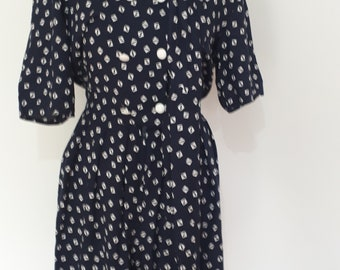 Vintage 80s Classic Woman navy white playsuit romper with matching wrap size small