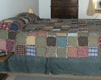 Custom Rag Quilt, Full Size Rag Quilt, Homespun Rag Quilt, Primitive Rag Quilt, Farmhouse Quilt, Rag Quilt