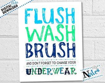 Boys Bathroom Printable, Bathroom Rules, Kids Bathroom Art, Flush Wash Brush Wall Art, Bathroom Rules for Boys, Boys Manners | Printable