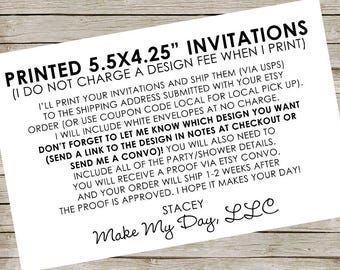 "Printed Invitations with BUDGET-FRIENDLY ENVELOPES (Most designs in this shop) ~ Small invitations ~ 5.5x4.25"" invitations"
