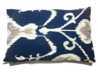 Decorative Lumbar Pillow Cover Navy Blue White Taupe Ikat Design Same Fabric Front/Back Toss Throw Accent 12x18 inch x
