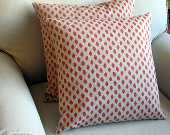 Coral Ikat pillow covers pair 18x18 20x20 22x22 24x24 26x26