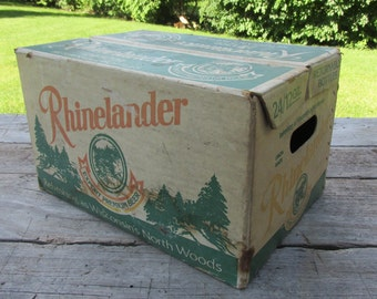 vintage BEER Box RHINELANDER case Refreshing as Wisconsin's North Woods approx 16x10x11 1979 collectible Home Brew storage Display useable