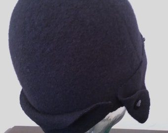 "Black Merino wool ""Aviator"" Cloche with jet buttons"