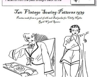 Two Vintage Sewing Instructions Panties and Bedjacket 1939 PDF Pattern Ruth Wyeth Spears