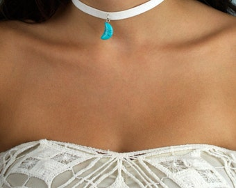 Choker Necklace Thick White Faux Suede Turquoise Moon Charm