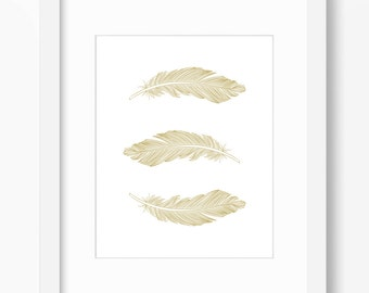 Feather Print, Feather Art, Feather Wall Art, Three Feathers, Gold, Wall Print, Gold Feather Print, Vertical Feather Print, Gold Feathers