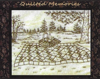Quilted Memories - Picnic Quilt - Redwork Hand Embroidery Pattern by Beth Ritter - Instant Digital Download