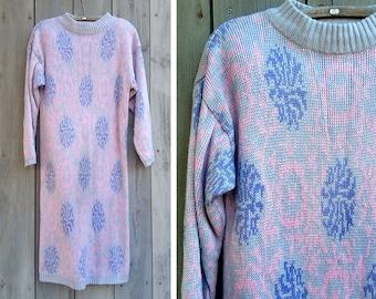 Vintage dress | 80s pastel knit floral print Joan Harper sweater dress tunic