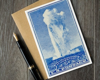 Yellowstone National Park art, Old Faithful birthday card, National Parks Christmas card, vintage fathers day card, unique retirement card