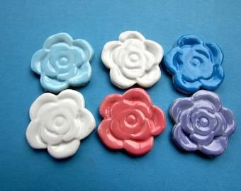 6 handmade ceramic roses mosaic  flower tiles
