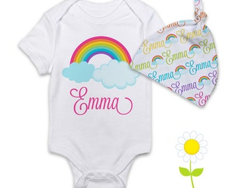 Personalized Rainbow Baby Girl Gift - Rainbow Bodysuit or Gown & Newborn Beanie Hat - Custom Name Hat and One-Piece - Coming Home Outfit