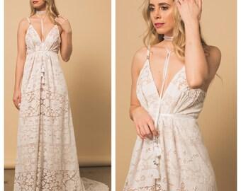 Wedding Dress, Boho Wedding Dress, Lace wedding dress, v back wedding dress, halter wedding dress, beach wedding dress, bohemian wedding