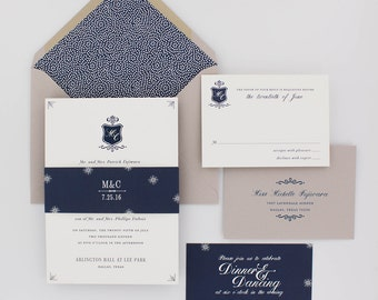 Wedding Invitations, Modern Wedding Invitations, Classic, Navy Blue, Urban Chic, Elegant - Legacy Wedding Invitation Deposit
