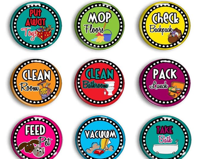 Chore Chart Magnets - Chore Magnets - Kids Jobs - Family Organization - Daily Routine - Magnetic Chore Chart - Household Chores - Homeschool
