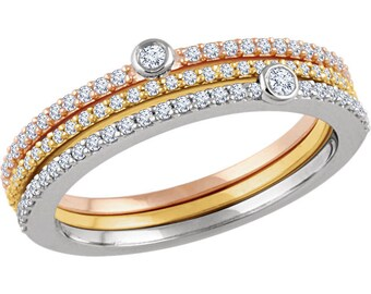 14kt Tri-color Gold & Diamond Stacking Ring Set, Rose, Yellow, White Gold Stacking Rings, Diamond Band, Anniversary Band